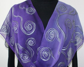 Purple Silk Scarf Hand Painted Chiffon Shawl PURPLE WAVES, in Several Sizes. Silk Scarves Colorado. Birthday, Christmas Gift, Mother Gift