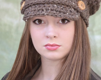 Brown Newsboy Hat for Girl or Boy (fits child and adult)