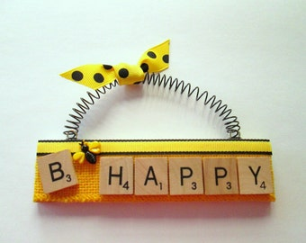 B Happy Scrabble Tile Ornament