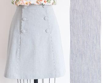 High waist skirt - Flared skirt - 1960s skirt - A line skirt - Vintage skirt - Cotton skirt -Striped skirt with buttons - Denim skirt