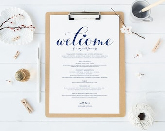 Navy Blue Wedding Itinerary, Printable Itinerary, Welcome Bag, Printable Welcome Letter, Welcome Letter, Wedding Weekend, WPC_1013