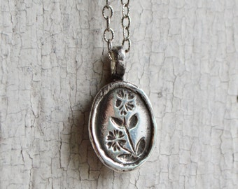 Sterling Silver Botanical Chickweed Necklace Jewelry Sterling Silver Necklace Gold Flower Charm Gift For Her Necklace for Mom Mothers Day
