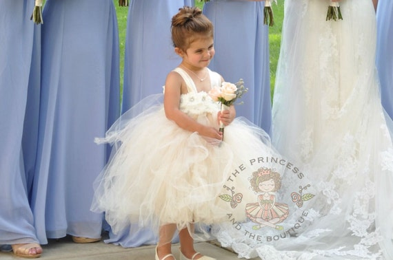Ivory Dress Champagne Dress Flower Girl Dress Flower Girl
