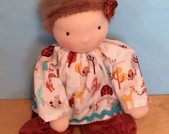 Woodland Forest Animals Doll Clothing Waldorf Doll Top and Velveteen Pants Outfit for 16-inch Waldorf Doll
