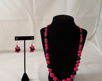 Pink & Black Glass Pearl Jewelry Set - Pink Pearl Necklace - Black Pearl Necklace - Pink Pearl Earrings - Black Pearl Earrings - Pink -Black