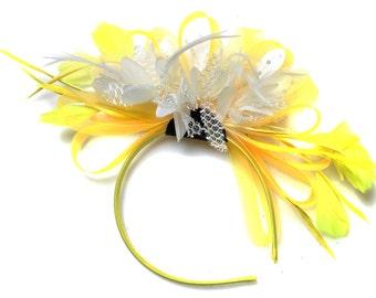 Bright Yellow & White Feathers Fascinator on Headband