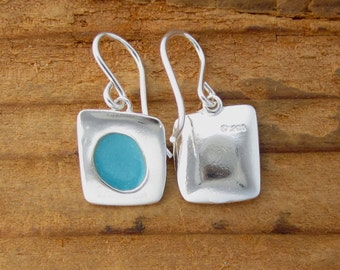 Sapphire Blue Earrings - Tiny Sterling Silver and Vitreous Enamel Earrings in Deep Turquoise
