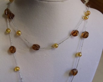 "32"" Vintage Rootbeer and Gold Crocheted Necklace, necklace, vintage, rootbear, gold, crocheted, reduced"