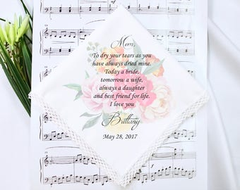 Wedding Handkerchief, Mother of the bride handkerchief, Mother of the bride gift, Wedding Gifts , GIFT BOX,hankie, Wedding gift for Mom #2
