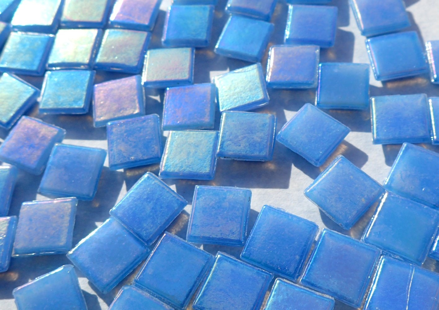 Sky Blue Iridescent Venetian Glass Tiles - 1 cm - Approx 3/8 inch ...