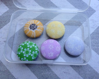 Flower Magnets-Spring Magnets-Fabric covered Magnets-Magnets
