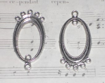 2 oval connectors silver-plated 19x37mm