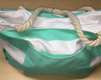 Monogrammed Canvas Beach Bags Zippered Rope Handles Mint