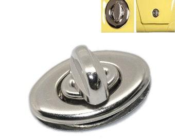 New Style Twist Lock, Turn Lock, Twist Clasp, Purse Hardware, Nickel Twist Lock, Silver Tone - Set of 5 -FREE SHIPPING