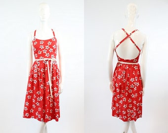 70s Halter Dress Lanz XS / 1970s Vintage Floral Dress Cotton / Criss Cross Dress