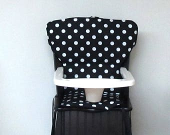 Eddie Bauer white dots on black wood  high chair cover newport style kids furniture replacement pad, safety first chair pad, nursery, dots