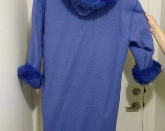 linda lundstrom LaParka-Beautiful Periwinkle Blue Colour Vintage 1987 Rare Pure Virgin Wool