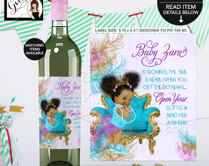 "Wine Labels Baby Shower Turquoise Purple & Gold, African American baby girl, princess, Afro Puffs {3.75x4.5""/4 Per Sheet}. Gvites"