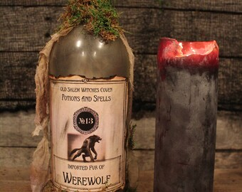 """Halloween Potion Bottle """"Imported Fur of Werewolf"""", Halloween decorations, Halloween decor, Halloween props, Halloween party, potion bottle"""