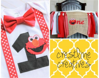 Ready to Ship Set! Elmo 1st Birthday Bodysuit & Highchair Banner, Elmo Cake Smash Set