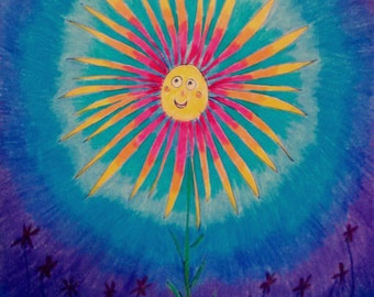 Midnight Bloom - Original colored pencil artwork, whimsical night flower, children, nursery art