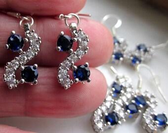 Sterling sapphire earrings pierced blue sapphire pierced earrings crystal earrings Austian crystal sapphire earrings sapphire jewelry