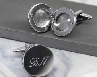 Round Cufflinks, Locket Cufflinks, Personalised Cufflinks, Gift for Him, Custom Cufflinks, Gift for Dad, Romantic Gift