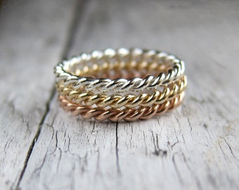 Twisted ring, rope ring band, ring set. Gold and silver stacking rings.