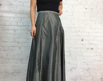 vintage 90's Limited Express silver metallic maxi skirt / shiny grey high-low ballroom skirt / long shimmery gray skirt