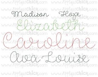 Vintage Stitch Script Embroidery Font, Bean Stitch, Hand-stitched look