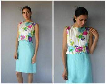 Vintage 1960s Dress • 60s Cocktail Dress • 1960s Party Dress • 60s Wiggle Dress • 1960s Floral Dress • 60s Sheath Dress -  (small)