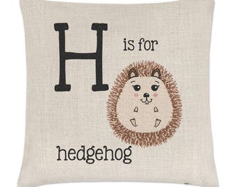 Letter H Is For Hedgehog Linen Cushion Cover
