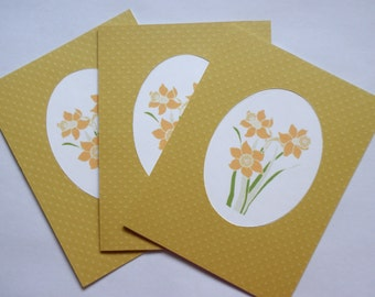 Daffodil Note Cards Set of Three Greeting Birthday Thinking of You Cards