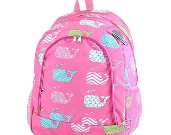 Whale Monogram Backpack, Personalized Backpack, Monogram Bookbag, Girls Backpack, Pink Backpack, Kids Backpack, School Backpack