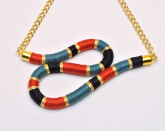 RIPPLE NECKLACE - rope necklace, teal statement necklace, textile, bib necklace, asymmetric, wave, gold chain, earth tones