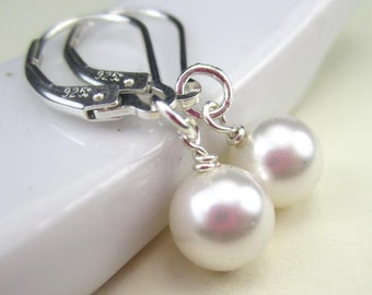 Pearl Interchangeable Earrings Sterling Silver Lever Back, Leverback Earrings
