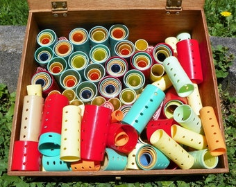 Vintage Retro Multi Colored Size Hair Curlers Craft Supplies Large Lot