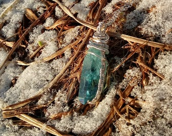 Blue Aqua Aura Quartz Crystal Point Wire Wrap Wire Work Pendant Necklace
