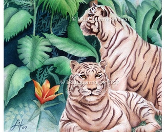 White Tigers Watercolor Painting Fine Art Print