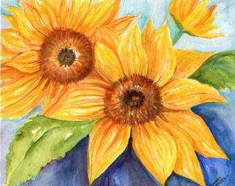 Sunflower watercolor painting original 8 x 10 sunflower rustic wall art,  Farmhouse decor, sunflower decor, original sunflower painting