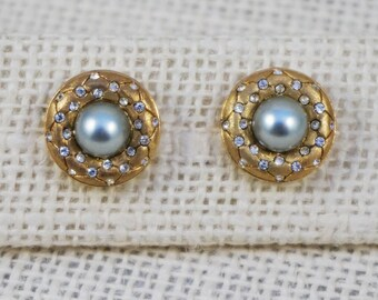 Vintage Nadri Light Gray Pearl Crystal Rhinestone and Brushed Gold Tone Button Pierced Earrings