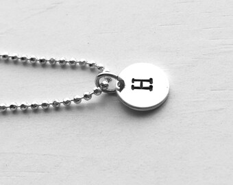 Initial Necklace, Sterling Silver, Personalized Jewelry, All Letters Available, Hand Stamped Jewelry, Letter H Necklace, Initial Pendant
