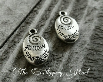 Word Charms Quote Charms Word Pendants Silver Word Charms FOLLOW YOUR HEART Charms Silver Charms Quote Pendants 5 pieces