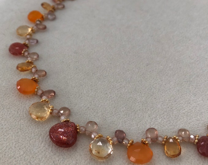 Semiprecious Gemstone Necklace in Gold Vermeil with Yellow and Golden Citrine, Sunstone, Orange Carnelian, Natural Zircon