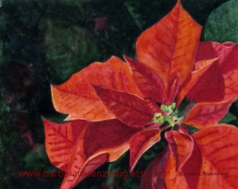 Poinsettia Painting, Red Flower Wall Art, Flower Print, Christmas Flower Painting, Poinsettia Watercolor, Flower Home Decor, Art Gift