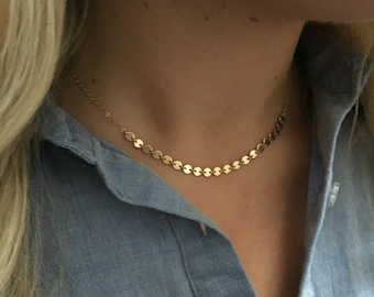 SIENNA - Dot Sequin Necklace | Gold Minimal Dainty Necklace | Layered Necklace | Circle Necklace | Fine Jewellery | Fine Jewelry