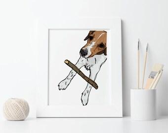Custom Portrait Printable Pet Illustration, Digital File: PDF JPG - You Print - Dog Portrait, Cat portrait, Pet Memorial, Animal Portrait