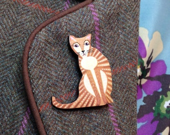 Elegant Cat brooch hand painted with stylised stripy design.