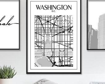 Washington Dc Print, Washington Dc Map, Printable Washington DC Map Poster, Washington City Map Print, Map Of Washington, Instant Download