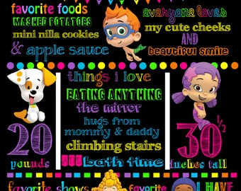 Colorful Bubble Guppies Birthday Chalkboard **PRINTABLE** ANY SIZE!